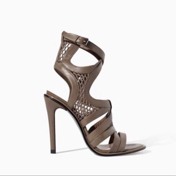 Zara Beige Strappy Heeled Sandals Size 8/39 NEW